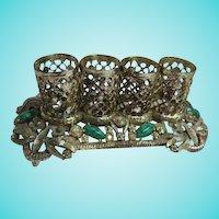 1950s Lipstick Holder Jeweled Peking Glass Filigree Signed