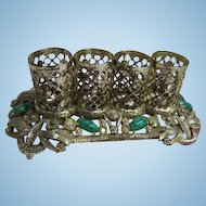 Vintage Lipstick Holder 1950s Jeweled Peking Glass Ormolu Filigree Gold Tone Signed SF