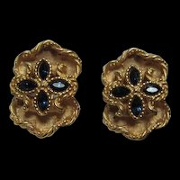 Stunning Voslo Signed  Sapphire Crystal Clip Earrings