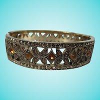 Quality Amber Topaz Cabochon Rhinestone Marcasite Bangle Bracelet