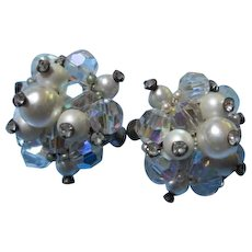 Gorgeous Vendome AB Crystal fx Pearl Cluster Earrings Signed