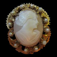 Florenza signed Genuine Shell Carved Cameo Pin Pendant