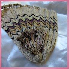 Wonderful Vintage Finely Hand made Drawstring Bag with Tassel