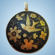 Gorgeous Damascene Bird and Flowers Vintage Amita Bold Etched Pendant