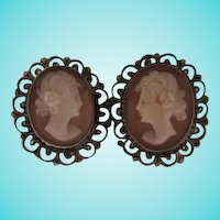 Beautiful Victorian Shell Cameo Silver Filigree Vintage Earrings