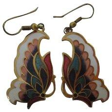 Beautiful Cloisonne Enamel Butterfly Earrings on French Hooks
