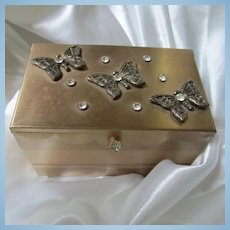 1950s Butterfly Rhinestone Vanity Mirror Expandable Jewelry Box Gold Tone