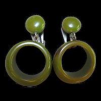 Bakelite Green Hoop Clip Earrings