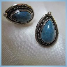 Native American Turquoise Sterling Silver Vintage Pierced Earrings