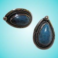 Native American Turquoise Sterling Silver Pierced Earrings