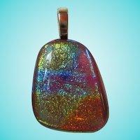 Gorgeous Vibrant Dichroic Glass Pendant Vermeil Bale