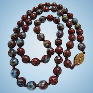 Fabulous Chinese Export Cloisonne Deep Red Vermeil Clasp Vintage Necklace