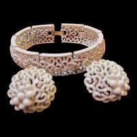 Crown Trifari Signed White Enamel Bracelet Earrings Demi Parure Set