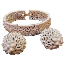Crown Trifari Signed White Enamel Bracelet and Matching Earrings Vintage Demi Parure Set