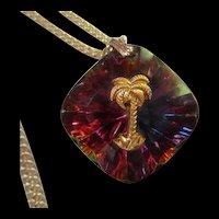 Amazing Swarovski Crystal Brilliant Colors Palm Tree Chain Marked Germany