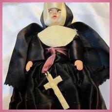 Vintage 1950s Nun Full Habit Dress Doll Eyes Open Close