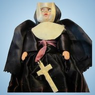 Vintage 1950s Nun Full Habit Dress Eyes Open & Close Doll
