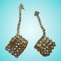 Mod Cubist Rhinestone Dangle Pierced Earrings