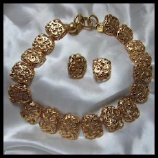 Anne Klein Bold Statement Necklace Matching Clip Earrings Original Neiman Marcus Box