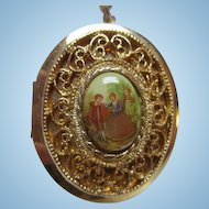 Limoges Fragonard Romantic Couple Porcelain Locket Substantial Bale on Heavy Rope Chain Signed