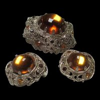 Gorgeous Amber color West Germany Pin and Earrings High Domed Vintage Set Demi