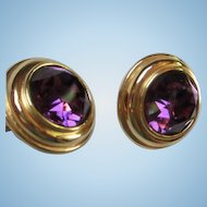 Huge Deep Purple Amethyst Faceted Glass Gold tone Round Clip Earrings Signed