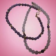 14K Gold Pair of Genuine Amethyst Purple and Lavender Gemstones Bracelets