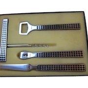 Vintage Iconic Mid Century Playboy Stainless Steel and Teak Bar Set in Original Box