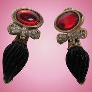 Bold Elegant Vintage Statement Earrings Signed Craft
