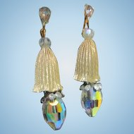 Stunning Runway Statement Crystal Occasion Vintage Clip Earrings