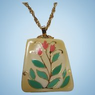 Bold  Enamel Flower Pendant on Gold tone Chain Vintage Necklace