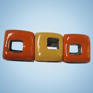 Fabulous Enameled Mod Orange and Yellow Modernist Vintage Stretch Bracelet
