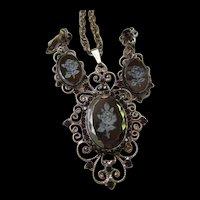 Hematite Intaglio Rose Faceted Cameo Garnet Crystal  Filagree Pendant Brooch Earrings Set