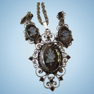 Gorgeous Hematite Intaglio Rose Faceted Cameo Garnet Austrian Crystal Rhinestones Filagree Vintage Pendant Brooch Earrings Set Demi