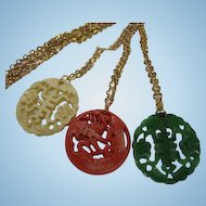 Fabulous Asian Inspired Celluloid Pendants Dragon Chinese Symbols Vintage Necklace Set