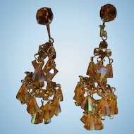 Fabulous Hattie Carnegie AB  Golden Stones Chandelier Earrings Book Piece