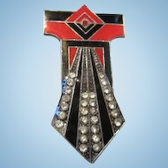 Fabulous Art Deco Pierre Bex Geometric Red Black Enamel Rhinestone Brooch Pin