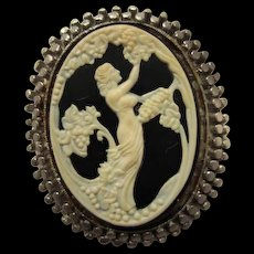 Unique Maxfield Parrish Art Nouveau Style Molded Glass Nymph Cameo Vintage Brooch Pin