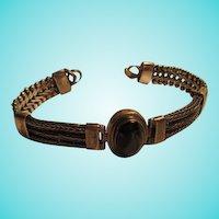 Vintage Black Onyx Sterling Silver 925 Fabulous Dual Link Band Bracelet