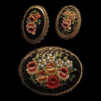 Gorgeous Floral Mosaic Italy Vintage Brooch Pin Earrings Set