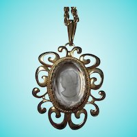 Gorgeous Cameo Intaglio Crystal Gold plated Frame on 24 inch Chain Vintage Necklace