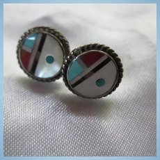 Zuni Pauline Lonjose Sun Face Inlaid Mosaic Turqoise Coral MOP Onyx Sterling Silver Post Earrings