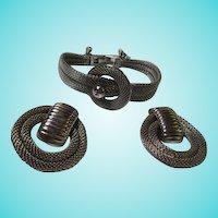 Fabulous Silver Steel Mesh Bracelet Door Knocker Clip Earrings Set