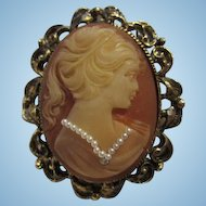 Fabulous Cameo fx Pearl Necklace and Rhinestone Diamond Ornate Frame Vintage Pin Pendant