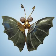 Vintage Genuine Jade Butterfly Brooch Pin