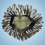 Fabulous Huge Trapezoid Smokey Gray Topaz Glass Silver tone Vintage Brooch Pin