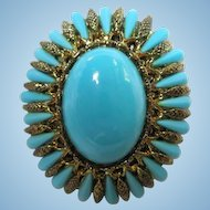 Gorgeous Vibrant Turquoise color Vintage Brooch Pin