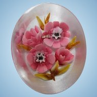 Beautiful Vintage Reverse Carved Painted Pink Flowers Lucite Vintage Brooch Pin
