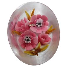 Beautiful Vintage Reverse Carved Painted Pink Flowers Lucite Vintage Brooch Pin
