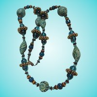 Fabulous Artist Hand Made Gorgeous Blue and Green Clay and Glass Bead Vintage Necklace